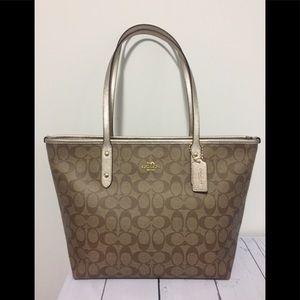 New Coach signature GOLD tote shoulder bag purse